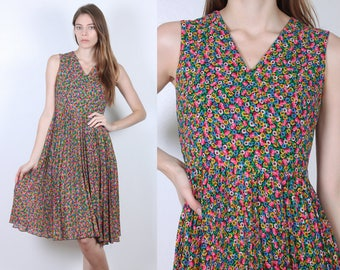 Vintage Floral Dress // 80s Knee Length V Neck Pleated Skirt - Extra Small xs