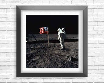 Space Poster, Buzz Aldrin On The Moon, First Lunar Landing Mission 1969, Apollo 11, Nasa Photo, Rocket Photo, Home Decor, American Flag