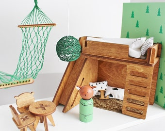 Doll house furniture, Bears house set, Birthday gift, Gift for kids, Peg doll house