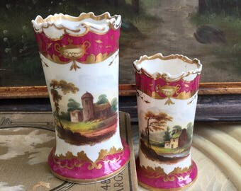 A Pair of Raspberry Hand-painted 19th Century Bud Vases