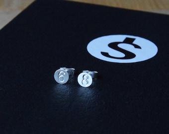 Customization -  Lucky Number Stud Earrings - Personalized Number Earrings - Lucky Earrings - Silver Stud Earrings - Handmade - Good Gift