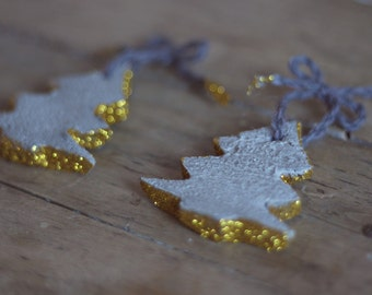 Modern Holiday Decor - Christmas Concrete Ornaments - Gold Concrete Ornaments - Modern Touch