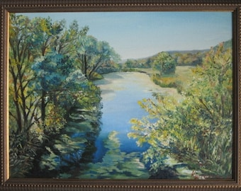 Oil painting on canvas, river painting, Landscape oil, Nature artwork , tree oil painting, home decor,  wall art