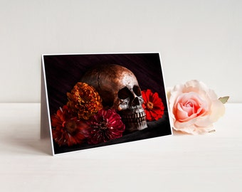 "Dia de los Muertos Greeting Card (with envelope), Notecard, A7 5x7"", Skull and Flowers 