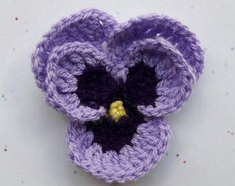 Crochet flower brooch | Pansy | purple | gift for her | Birthday