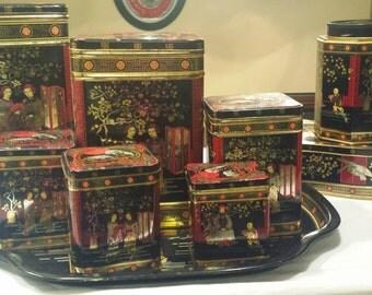 Vintage Asian style tea caddy/tin set