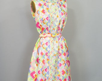 Fab and Fun Vintage 1960s Rainbow Skies Dress w Original Belt