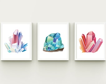 Crystals home decor nursery minerals wall art printable, instant download wall decor child room, girl room playroom printable art