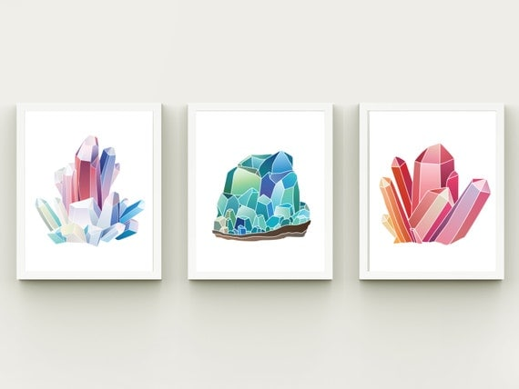 Wall Decor With Crystals : Crystals home decor nursery minerals wall art printable
