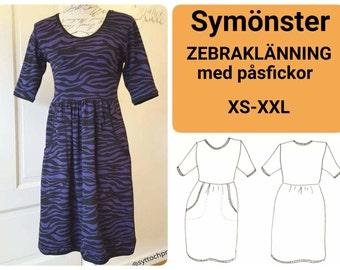 ZEBRAKLÄNNING Zebra Dress XS-XL pdf-mönster pdf-pattern