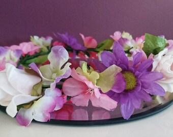 Pink artificial flower crown, halo, wreath, wedding.