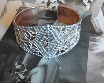 Bracelet band Belle Epoque silver and copper with openwork patterns