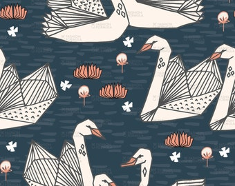 Swans Fabric by andrea_lauren