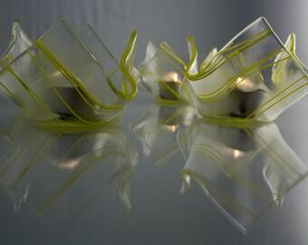 Fused Glass Votive Holder Set