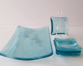 Fused Glass Blue Sky-Clouds Appetizer Set