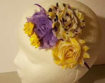 Purple yellow and grey polka dot shabby flower headband, Shabby chic headband, shabby flowers headband, Yellow polka dots, Yellow satin