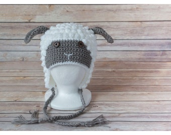 Crocheted Sheep hat, Lamb hat, hatimal, animal hat,