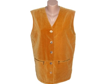 Vintage women vest pearl buttons ocher metal zipper