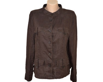 Vintage brown women shirts blazer 100% linen