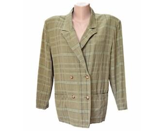 Vintage Boulevard Du Maine women pastel green checkered blazer size L made in France