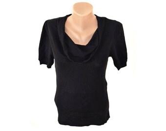 Vintage Maria Glenster women top blouse black wool