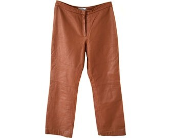 Vintage Concerto Linea Italiana women pants genuine goat leather brown