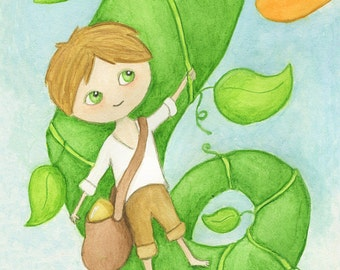 Jack and the Beanstalk art print - watercolour children's painting whimsical