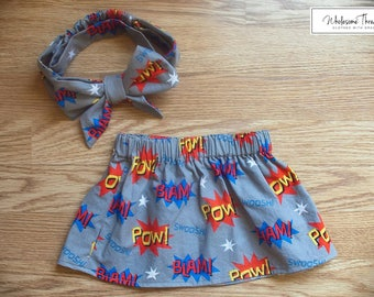 Superhero inspired Skirt & Headband set