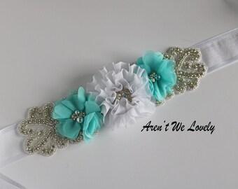 aqua flower belt, aqua blue flower belt, aqua and silver, aqua sash, bridesmaid belt, maternity belt, belt, belts and sashes