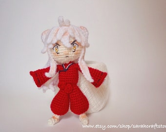 4.5 inches crocheted Inuyasha,crochet doll,amigurumi doll,handmade doll