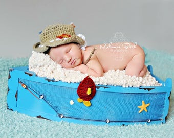 Newborn, Baby, Fisherman Hat, Little Fishes,  Custom Made to Order