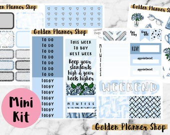 Blue Heels Mini Kit, Planner Stickers for Erin Condren Planner