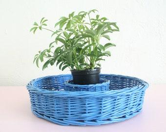 Blue Woven Serving Tray / Vintage Woven Basket / Boho Kitchen Decor / Chip & Dip Set / Appetizer Dip Tray / Vintage Servingware