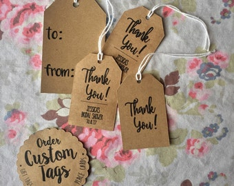 Custom Gift Tags • Party Favor Tags • Bridal Shower Tags • Baby Shower Tags • Thank You Tags • 12-24ct