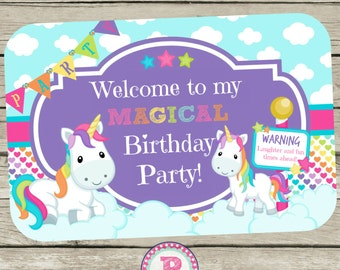 Unicorn Birthday Party Welcome to my Magical Birthday party sign Aqua Pink Rainbows Castle Fairy tale Unicorns Instant Downloads