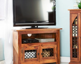 Jali plasma wood & iron corner tv unit - Indian sheesham handcmade