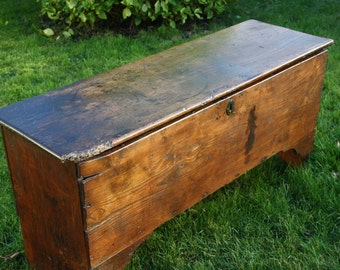 Antique Elm 'six plank' coffer