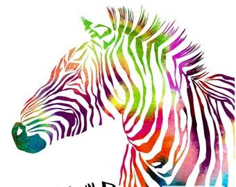 Stay Wild Rainbow Zebra Print