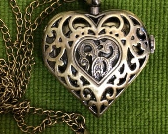 Watch necklace, watch pendant, heart watch, bronze watch , bronze necklace, filigree watch, heart pendant
