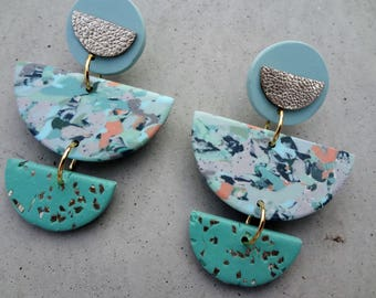 Mother of the Bride - Seaspray / Polymer Clay Earrings / Leather Earrings / Stud Earrings / Drop Earrings