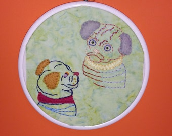 Pug Dog Hand Embroidery