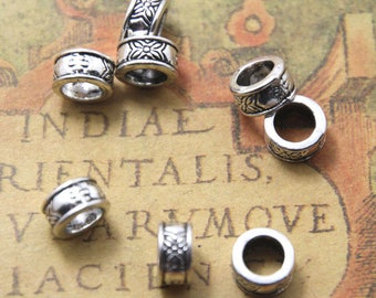 40PCs European Spacer Beads Carved Round Silver Tone 8mm hole size: 4.7mm ASD1145