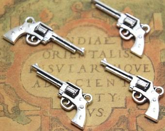 10pcs large gun Charms Silver tone 2 sided gun Charms pendant 45x11mm ASD1718