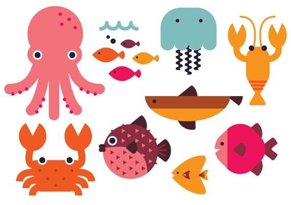 Sea Clipart cute clipart animal vector fish octupus beach