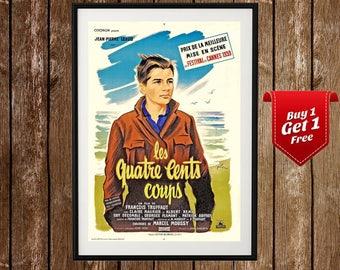 400 Blows Movie Poster , Les Quatre Cents Coups , Francois Truffaut, Antoine Doinel , Nouvelle Vague, French New Wave, Cinema Film Print