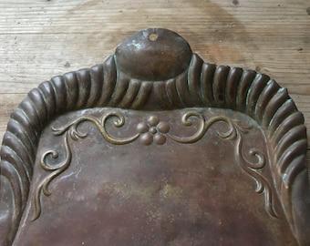 Vintage copper crumb catcher, copper dust pan, Aged copper,