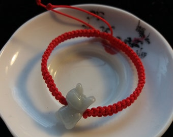 Lucky Chinese Red String Bracelet with Chinese Zodiac Jade Bead (Dog)