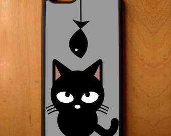 Kitty Kitten Cat Animal Meow Fish Hanging Phone Case Samsung Galaxy S6 S7 S8 Note Edge Apple iPhone 4 5 5S 5C 6 6S 7 SE Plus + LG G3 skin