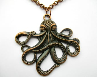 Copper Octopus Cthulu Pendant Chain Necklace