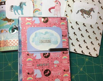 Unicorn  Pink and Blue Junk Journal / scrapbook/ Diary